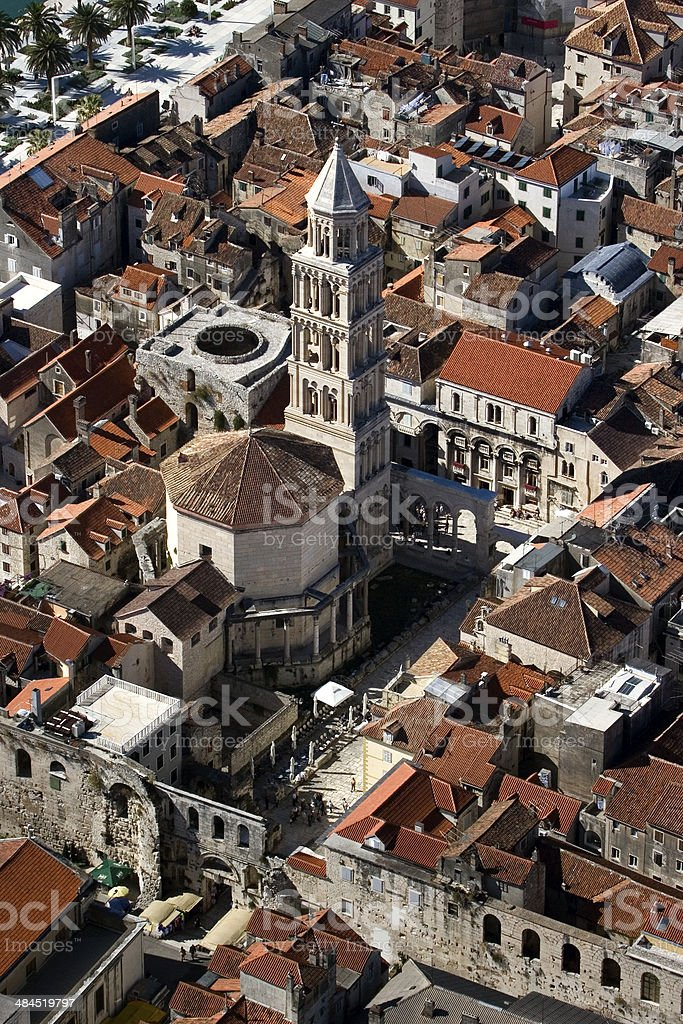 Peristyle and St Domnius cathedral in Split, aerial view stock photo