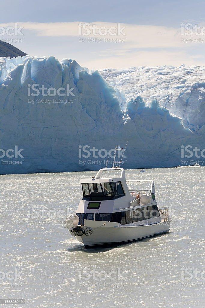 Perito Moreno Touristic boat royalty-free stock photo