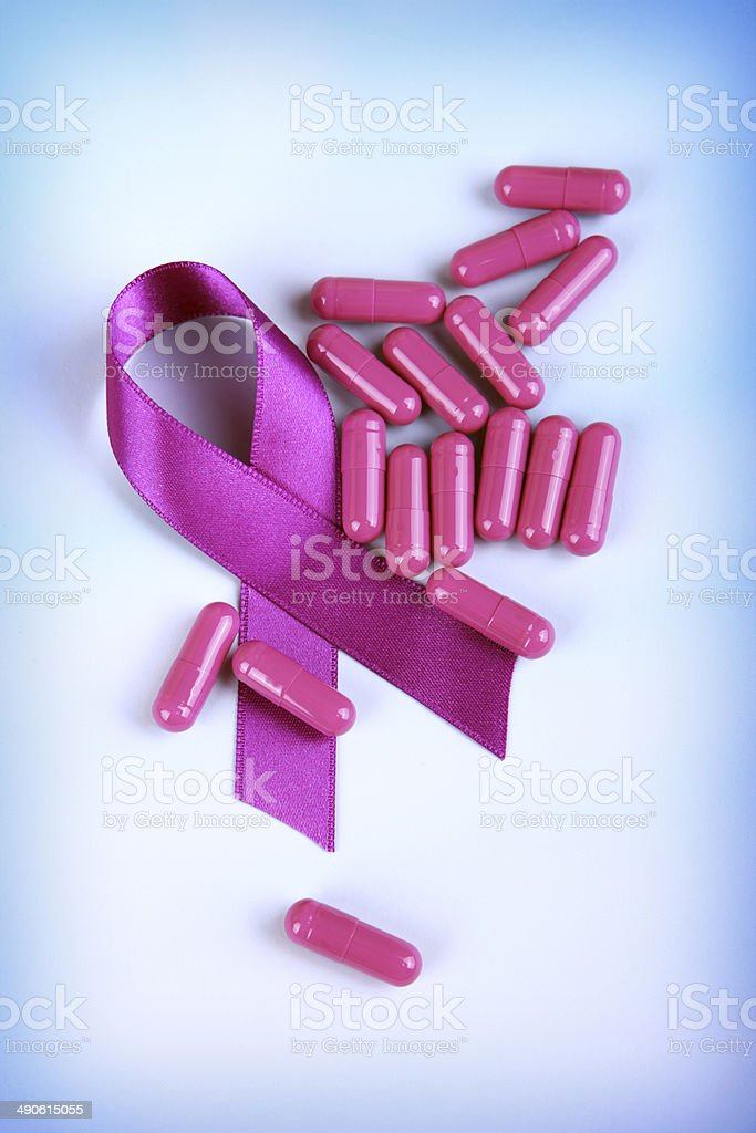 Periwinkle Awareness Ribbon with Capsules royalty-free stock photo