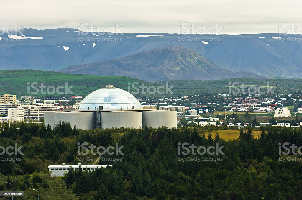 Perlan or Pearl, restaurant build on water towers at Reykjavik stock photo