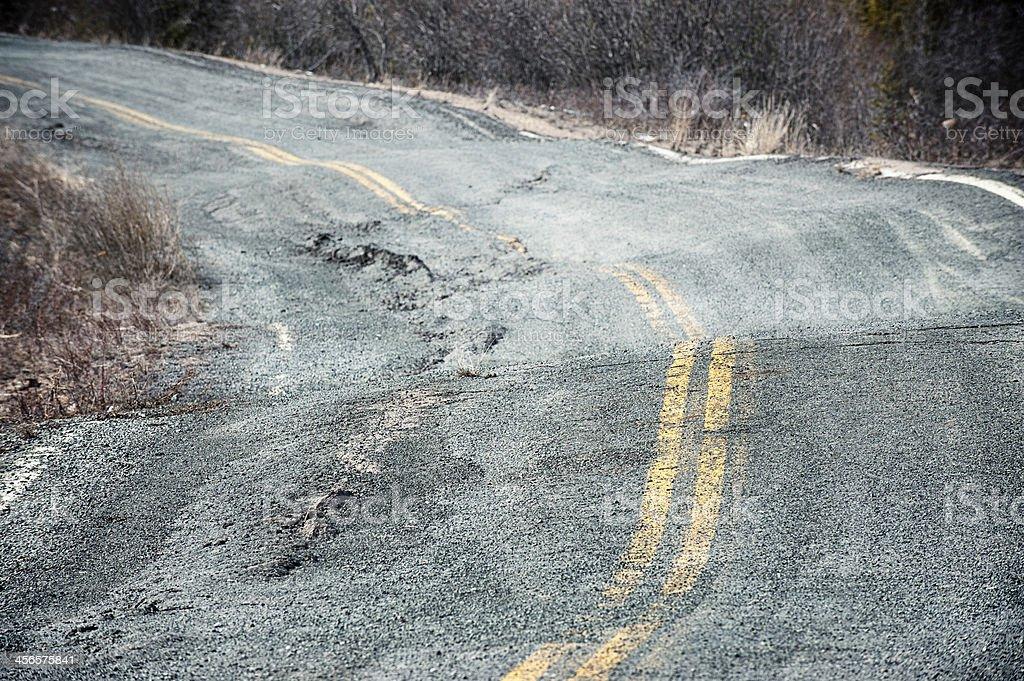 Permafrost Damaged Road, Yellowknife, Northwest territories. stock photo