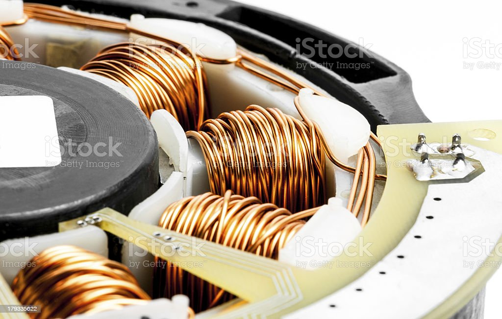 Permanent magnet motor disassembled close-up royalty-free stock photo