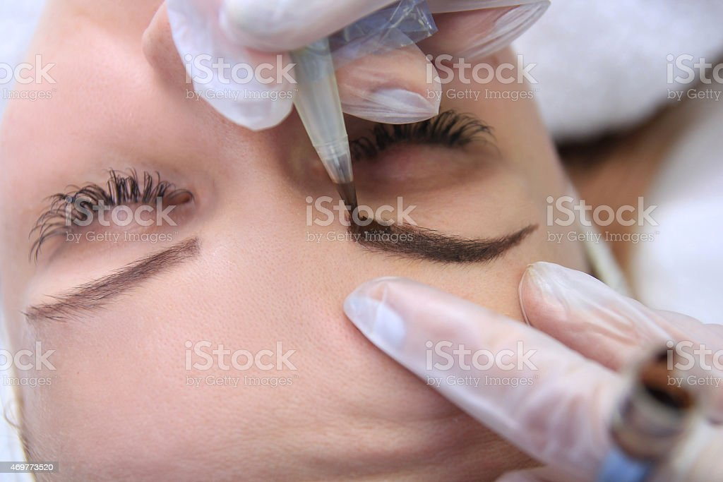 Permanent make up on eyebrows. royalty-free stock photo