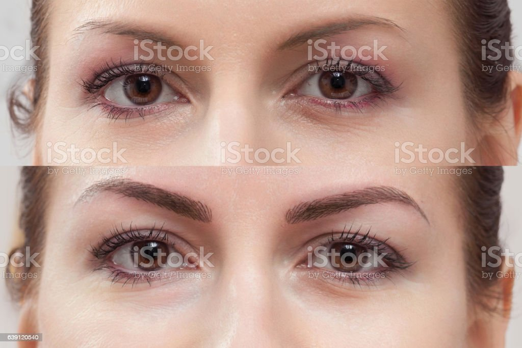 Permanent Makeup eyebrow, before and after stock photo