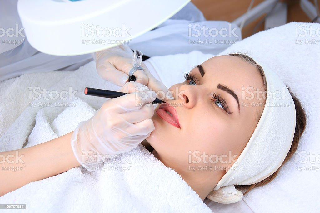 Permanent make-up (Tattoo) royalty-free stock photo