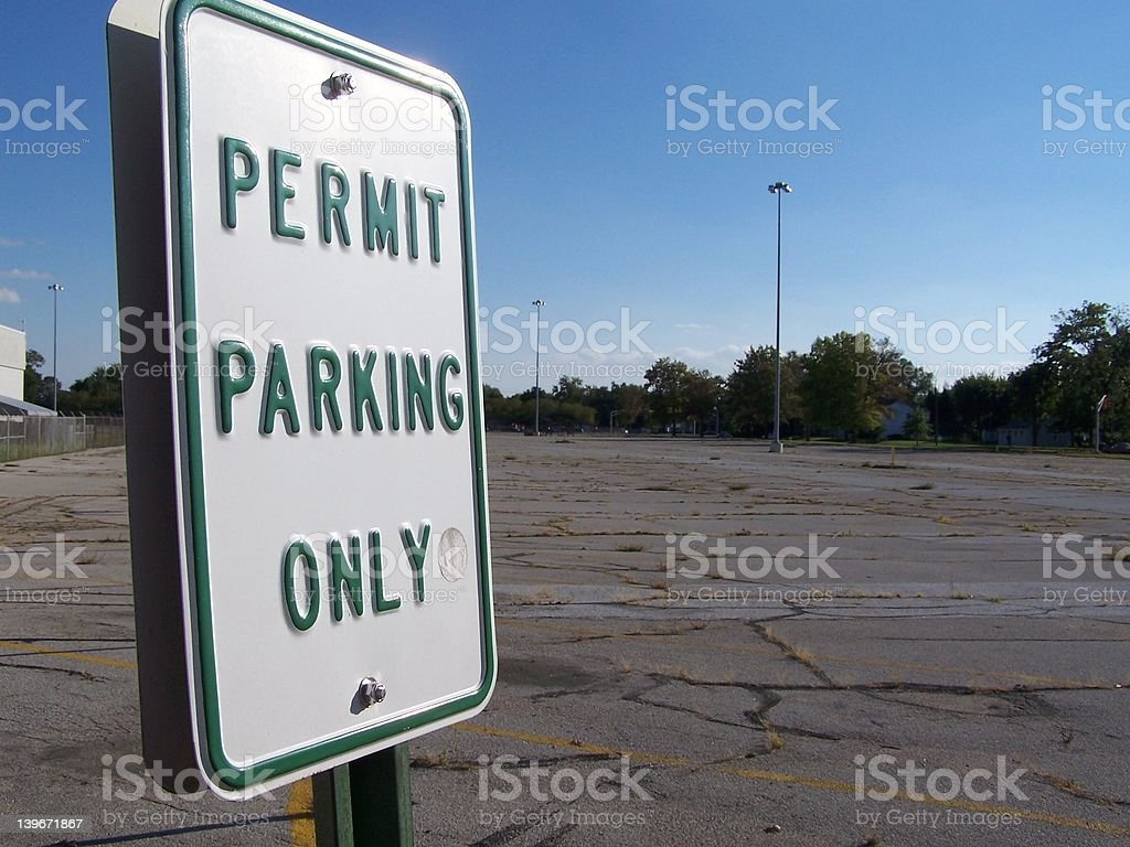 Permit Parking Only royalty-free stock photo