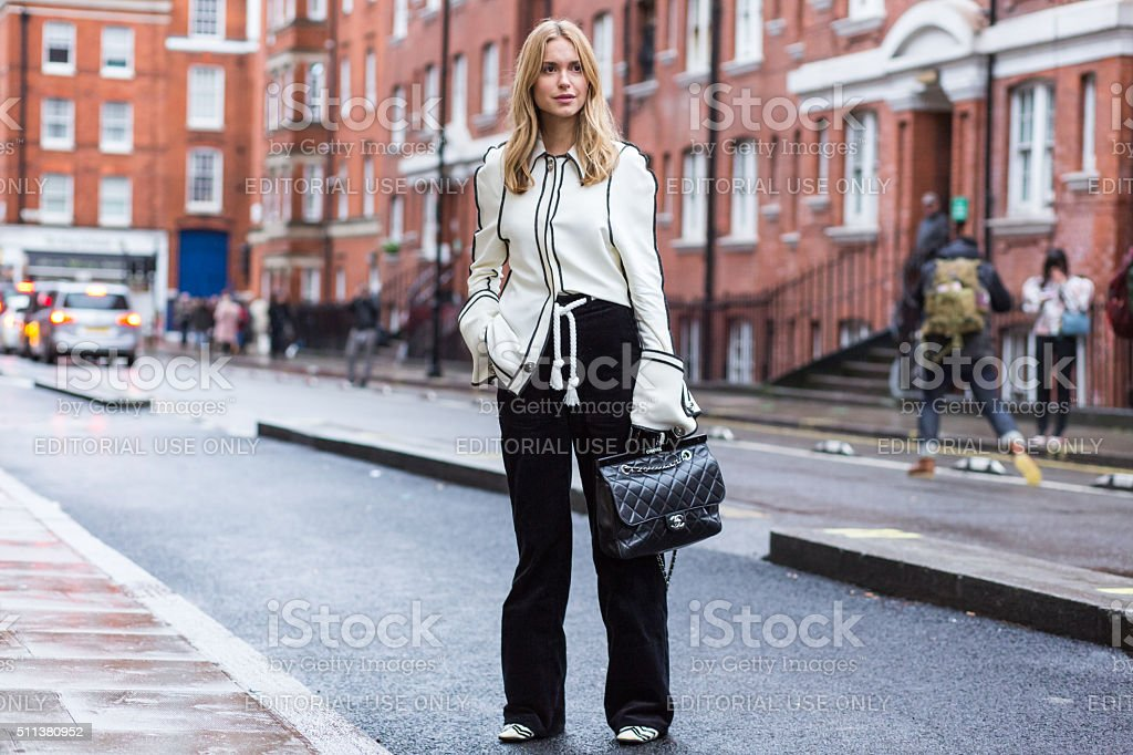Pernille Teisbaek after J.W. Anderson show during London Fashion Week stock photo