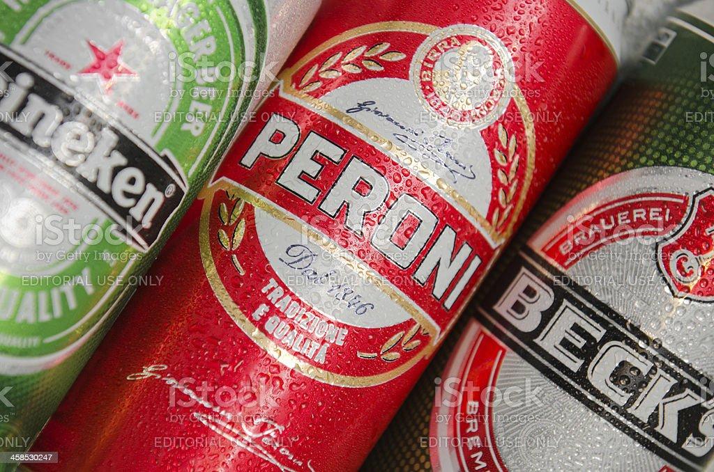 Peroni, Heineken and becks beer Cans stock photo