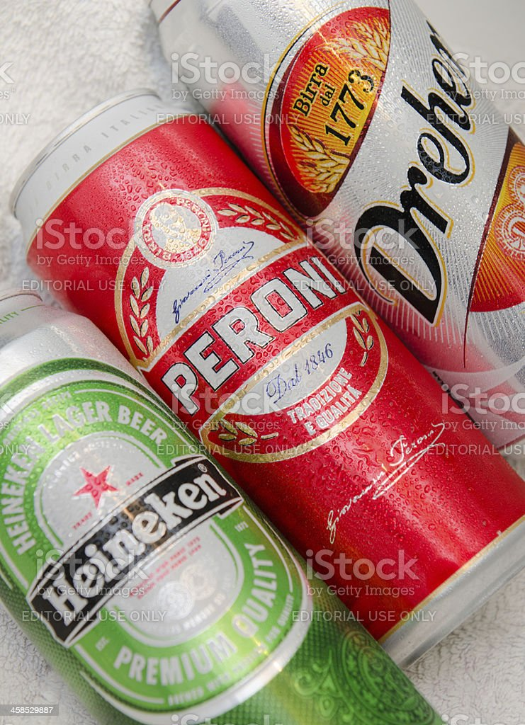 Peroni, Heineken and Dreher beer Cans stock photo