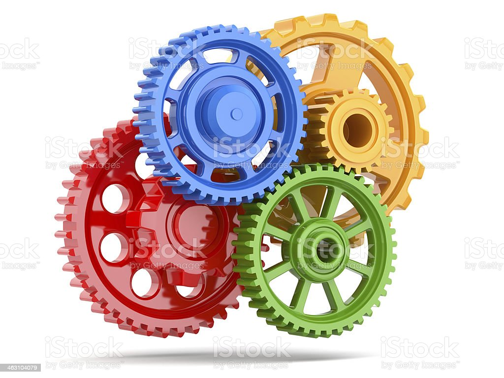 Perpetuum mobile. Color gears on white isolated background. stock photo