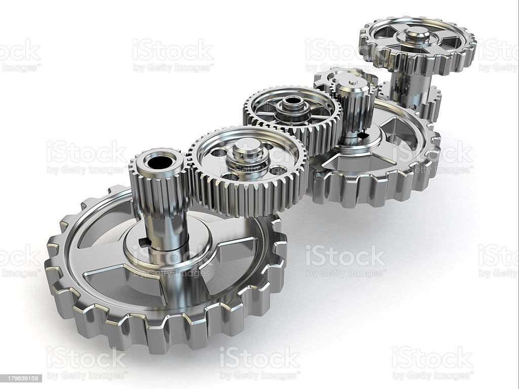 Perpetuum mobile. Iron gears on white isolated background. stock photo