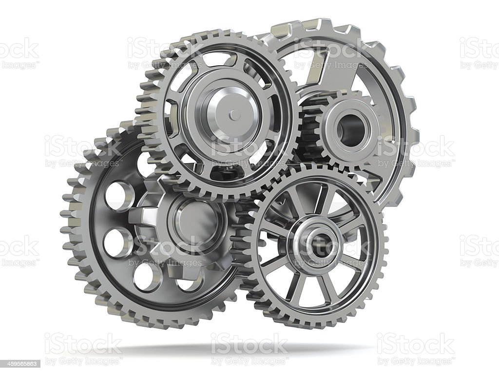 Perpetuum mobile. Metal gears on white isolated background. stock photo
