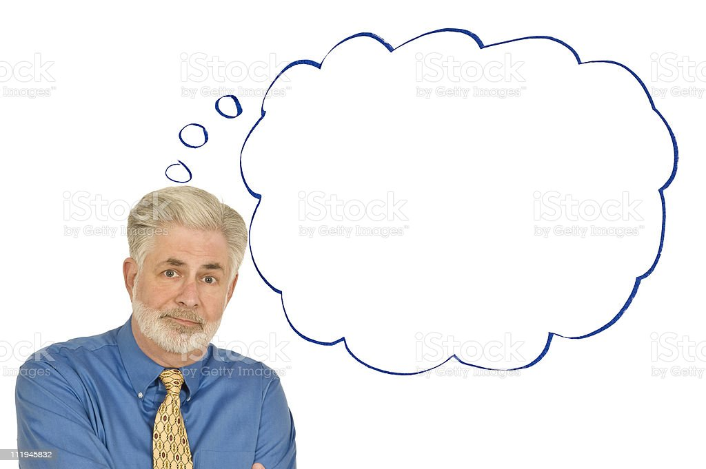 Perplexed Businessman With Blank Thought Bubble royalty-free stock photo