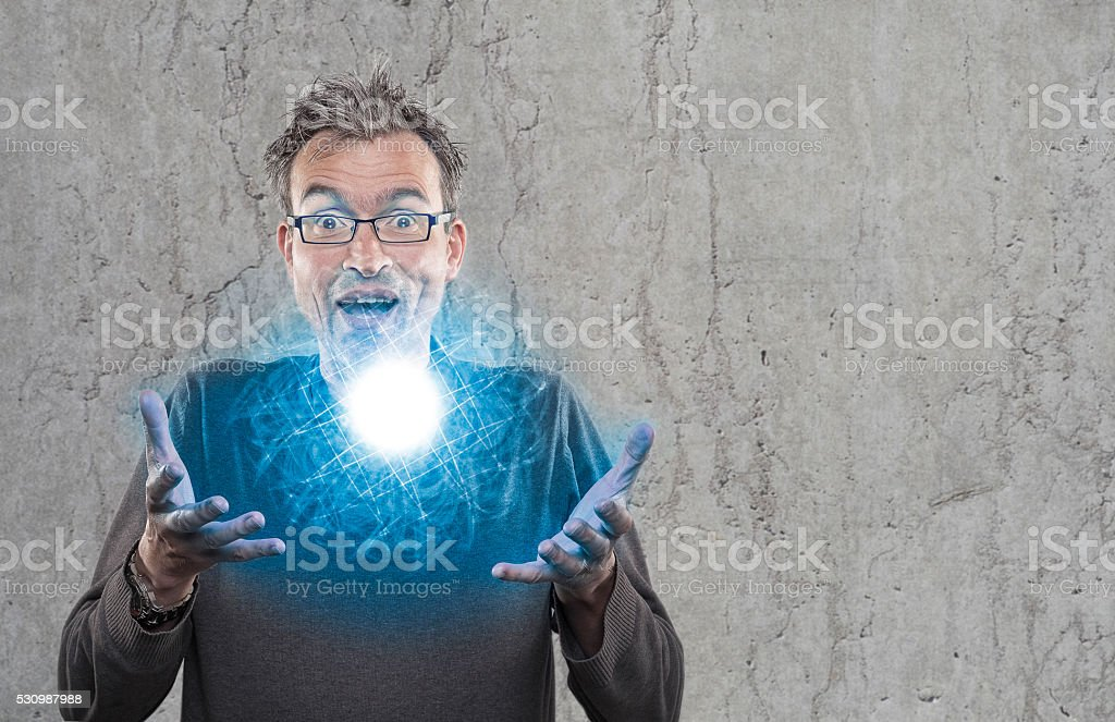 Perplexed scientists shows newly developed light plasma stock photo