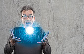 Perplexed scientists shows newly developed light plasma