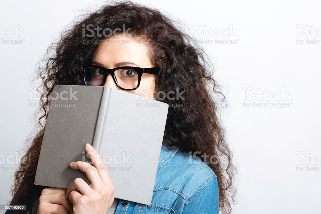 Perplexed student being in shock stock photo