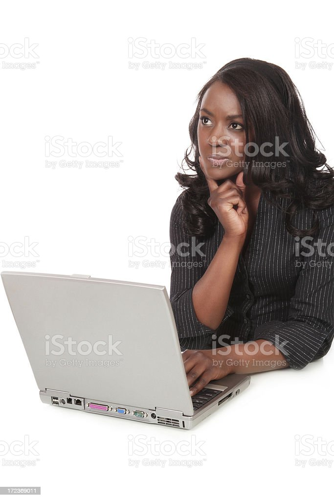 Perplexed Young Woman at Computer stock photo