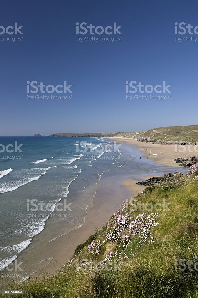 Perranporth beach on the north coast of Cornwall in England royalty-free stock photo