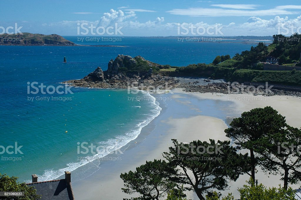 Perros-Guirec (Brittany, France): beach stock photo