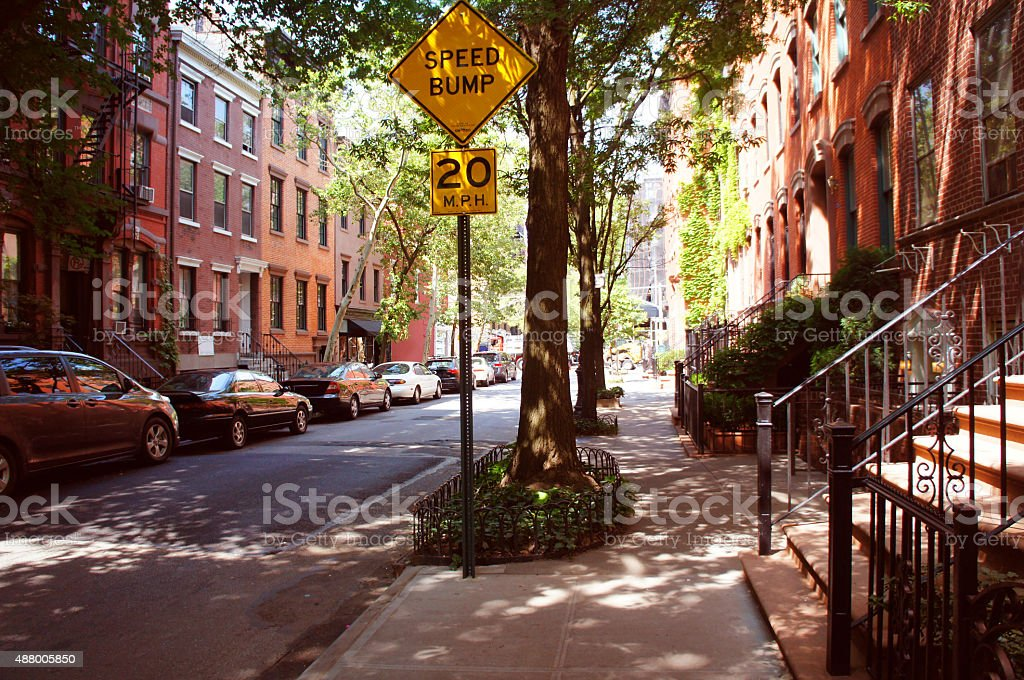 Perry street of Greenwich village district stock photo