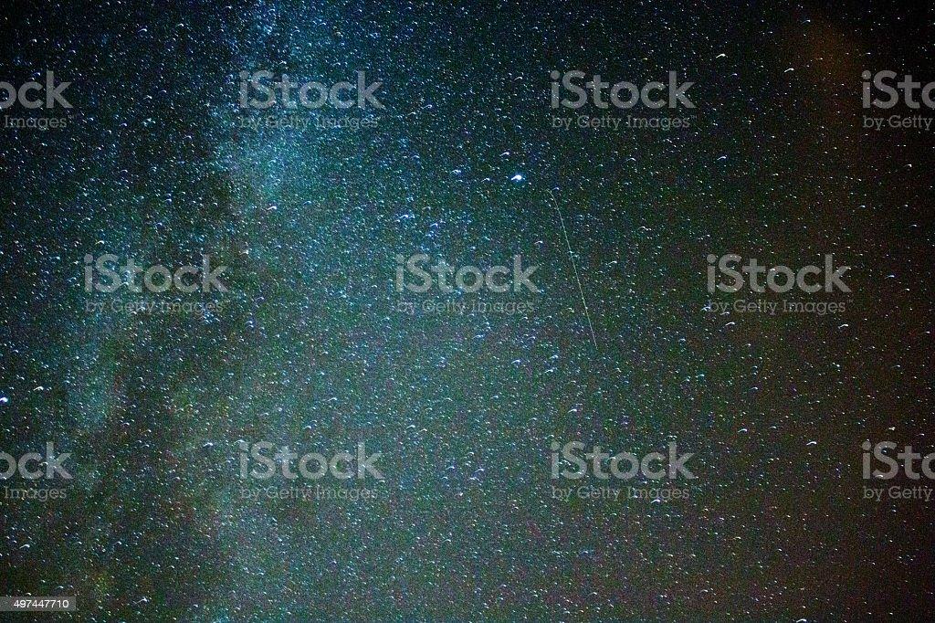 Perseid Meteor Shower stars - milky way stock photo