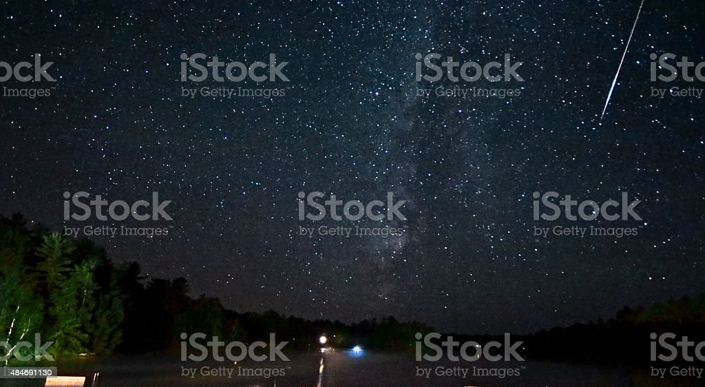 Perseids Meteor and Milky Way stock photo