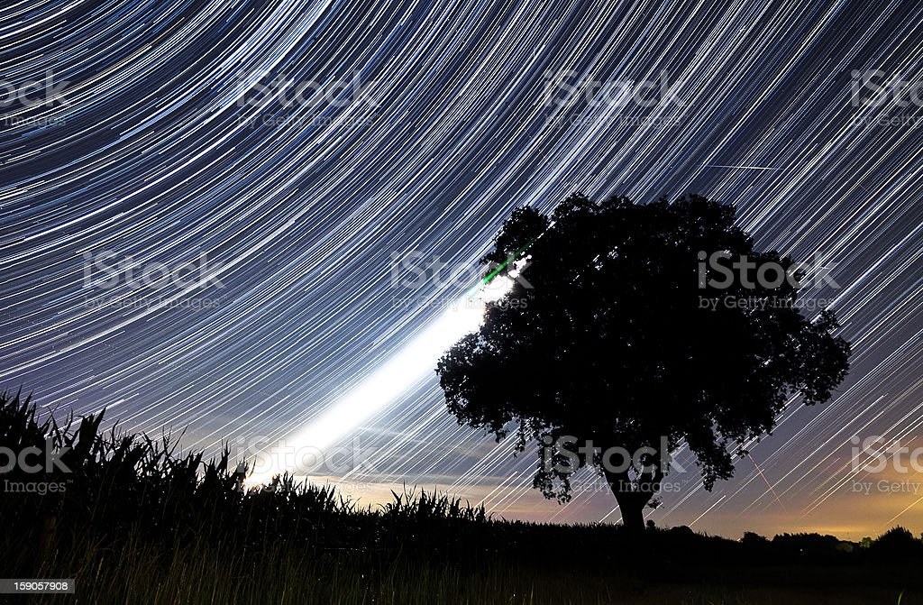 Perseids star trails stock photo