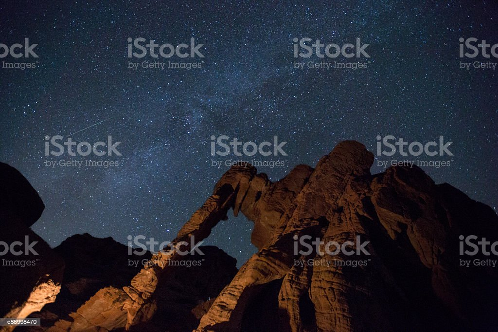 Perseids Valley of Fire Elephant Rock and the Milky Way stock photo