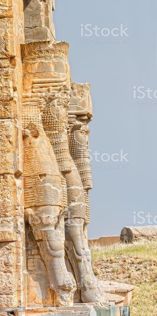 Persepolis Lamassu statues stock photo