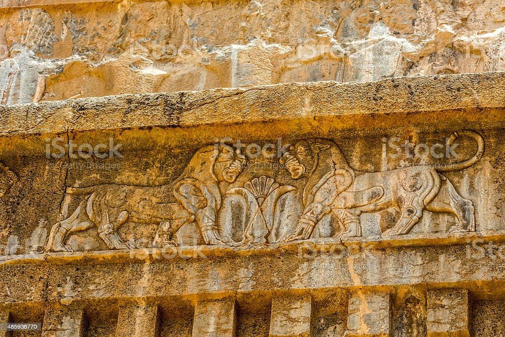 Persepolis lions relief stock photo