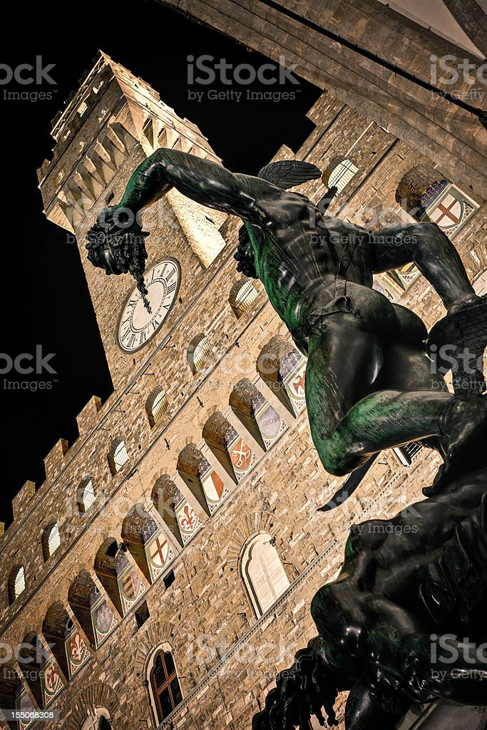 Perseus and Medusa, HDR Firenze at Night stock photo