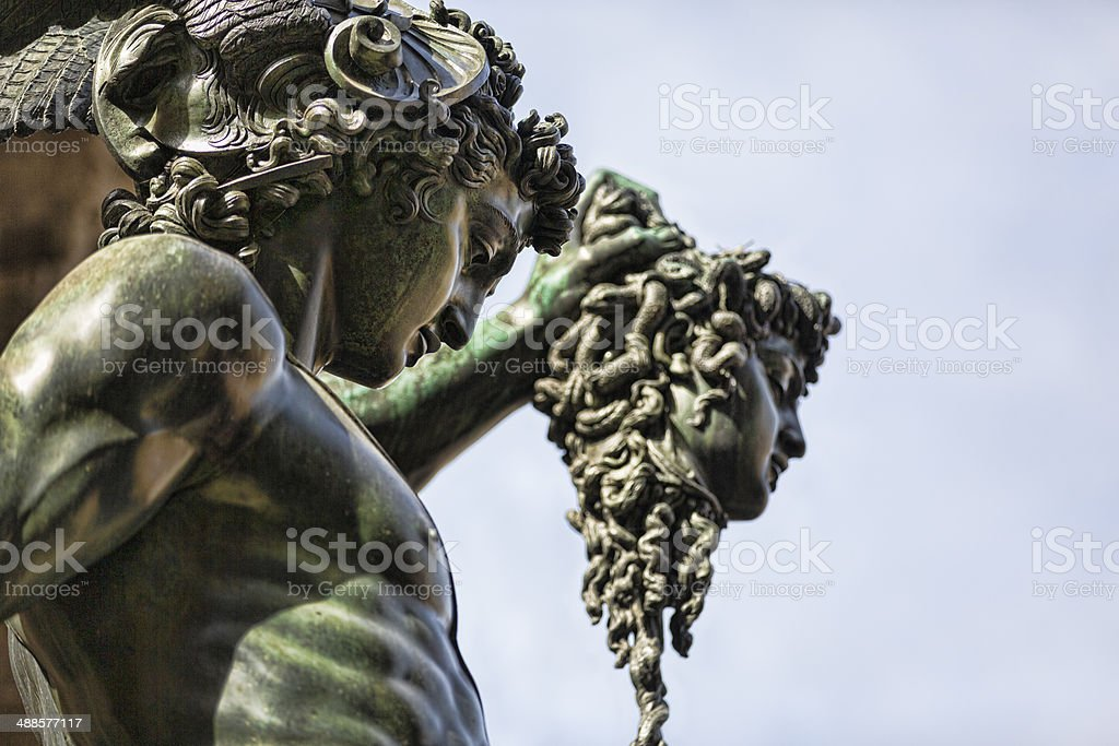 Perseus Holding Medusa head in the Piazza della Signoria Florence stock photo