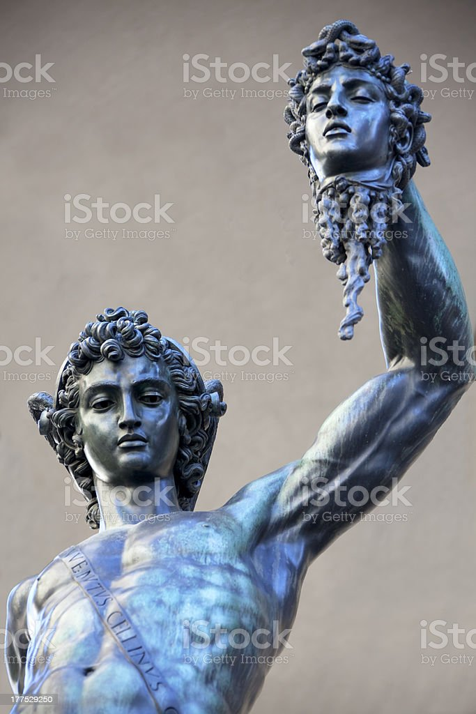 Perseus holding Medusa head stock photo