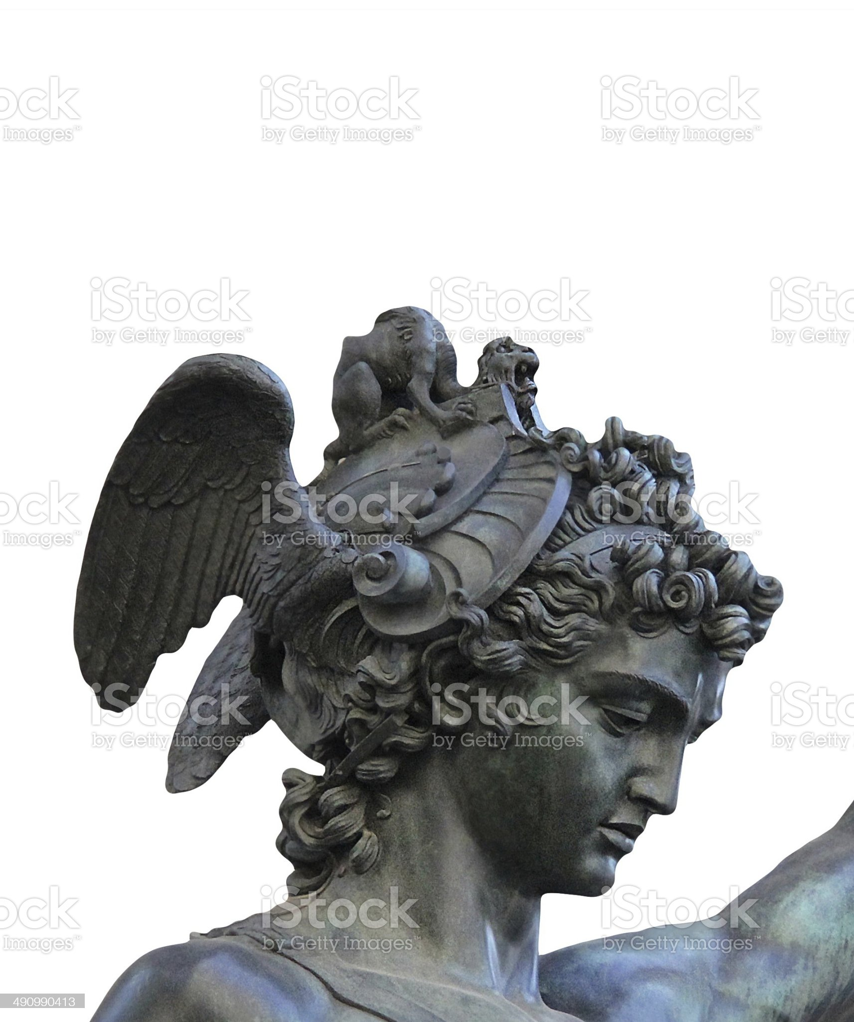 Perseus holding the head of Medusa on white background, royalty-free stock photo