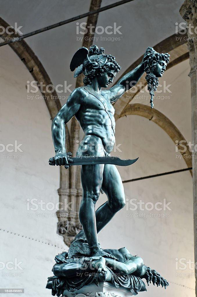 Perseus statue with the head of Medusa royalty-free stock photo