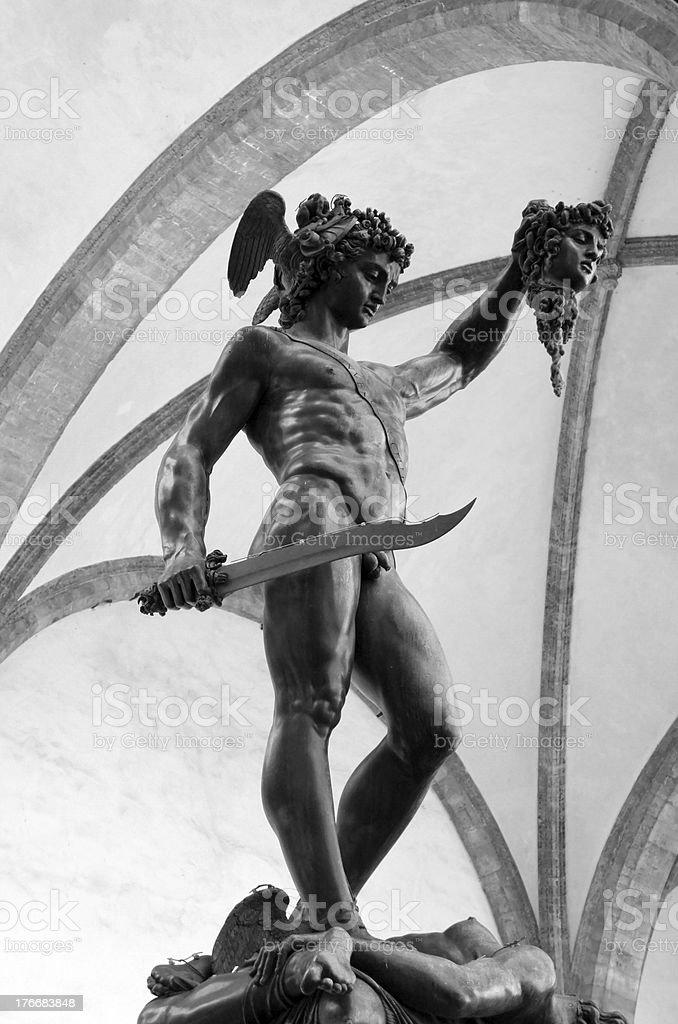 Perseus with head of Medusa Gorgon, Loggia Lanzi, Florence, Italy royalty-free stock photo
