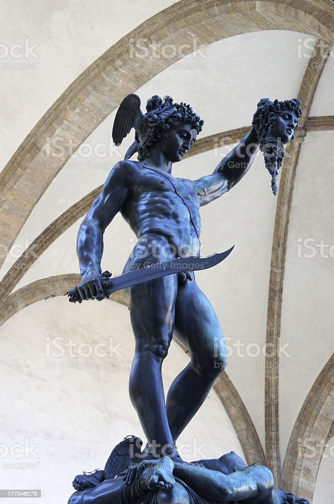 Perseus with head of Medusa Gorgon, Loggia Lanzi, Florence, Italy royalty-free stock photo