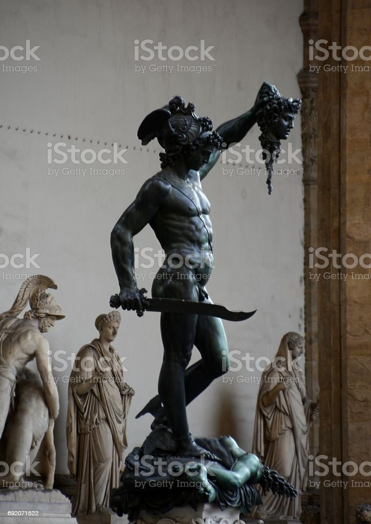Perseus with the Head of Medusa, Loggia Dei Lanzi in Florence, Tuscany, Italy stock photo