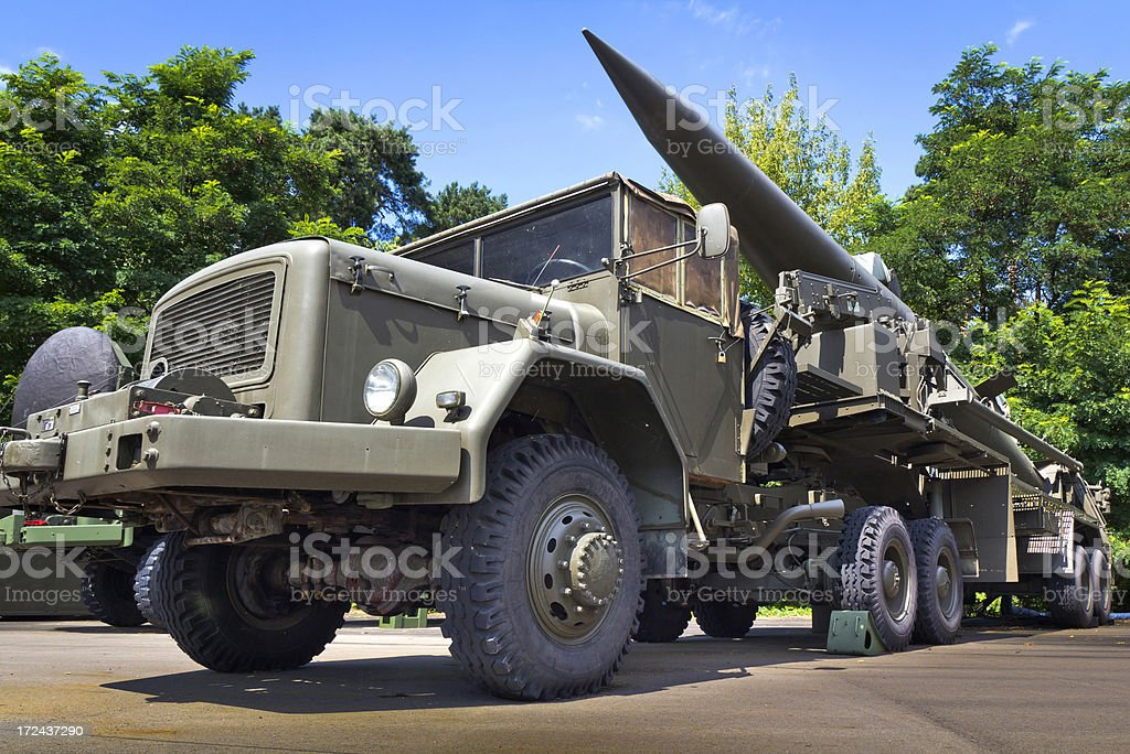 Pershing missile on the military vehicle trailer royalty-free stock photo
