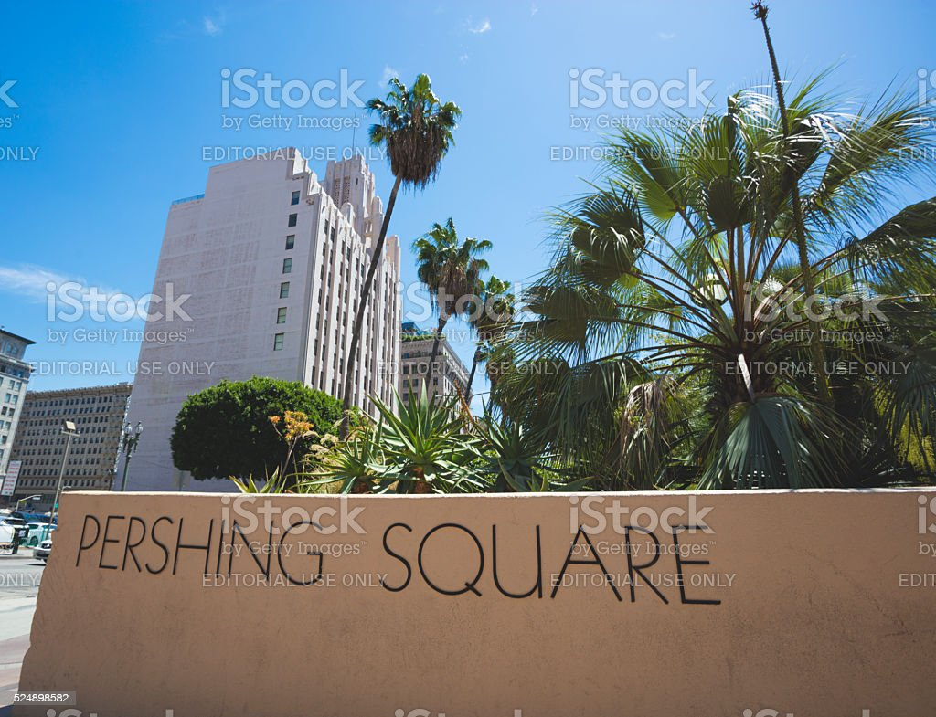 Pershing Square Downtown Los Angeles. stock photo