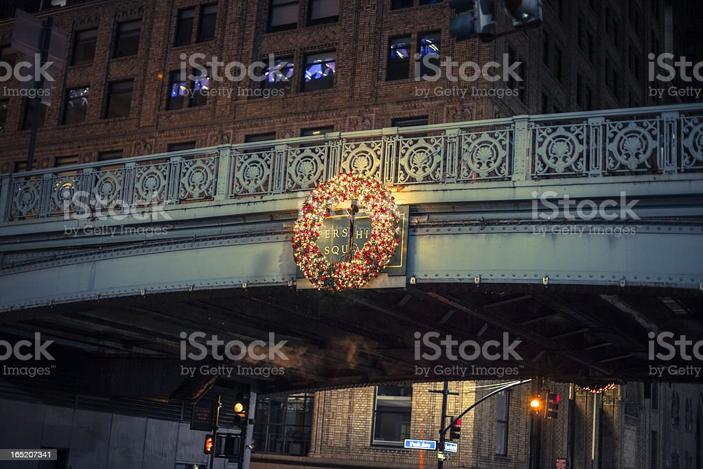 Pershing Square Overpass with Christmas Wreath stock photo