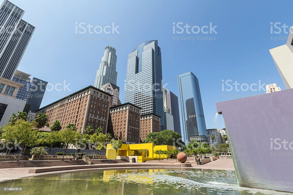 Pershing Square Park Downtown Los Angeles stock photo