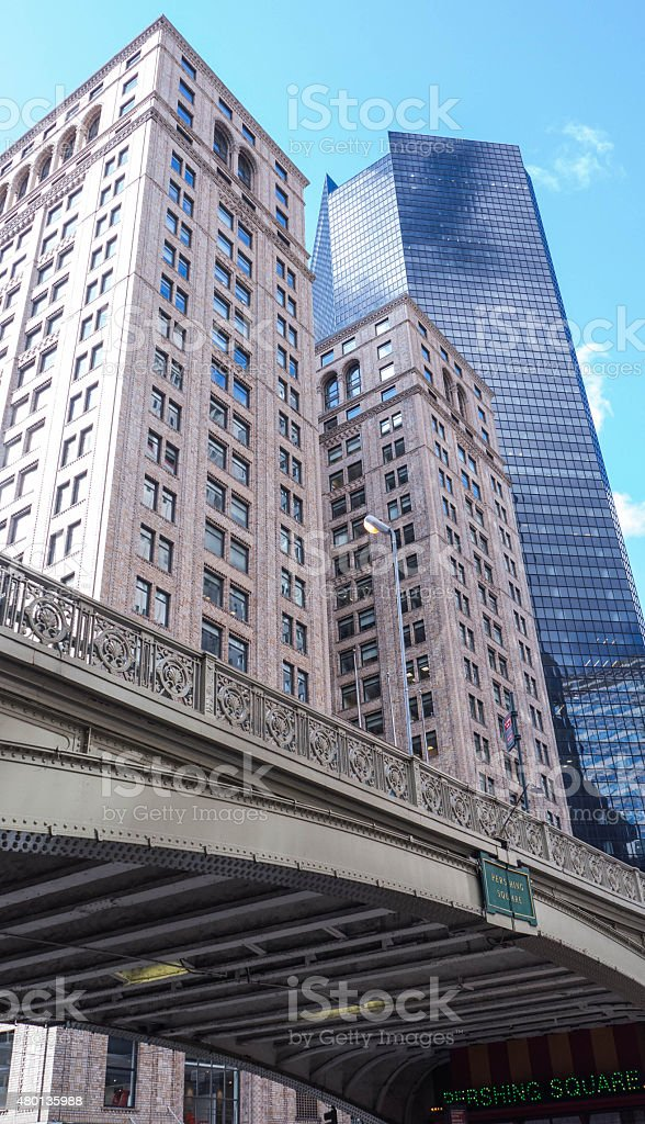 Pershing Square with Buildings stock photo