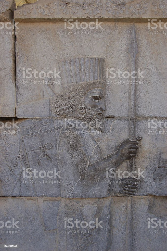 Persian bas relief royalty-free stock photo