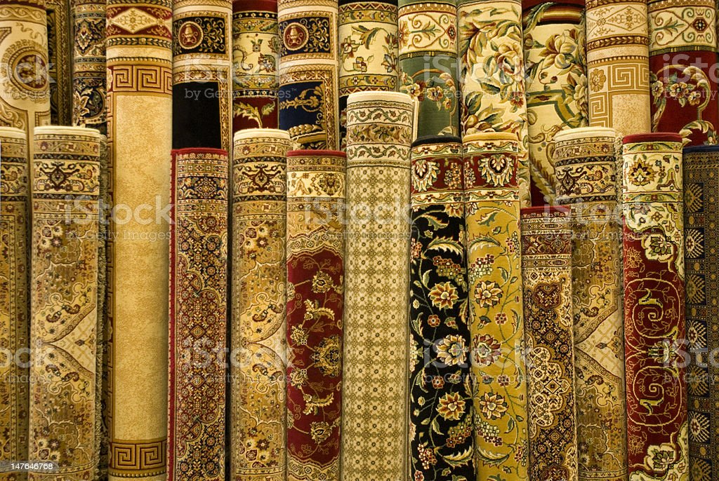 Persian carpets on display royalty-free stock photo