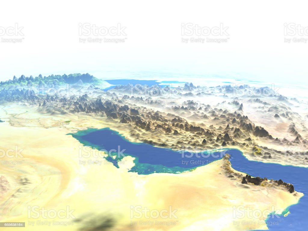 Persian Gulf on planet Earth stock photo