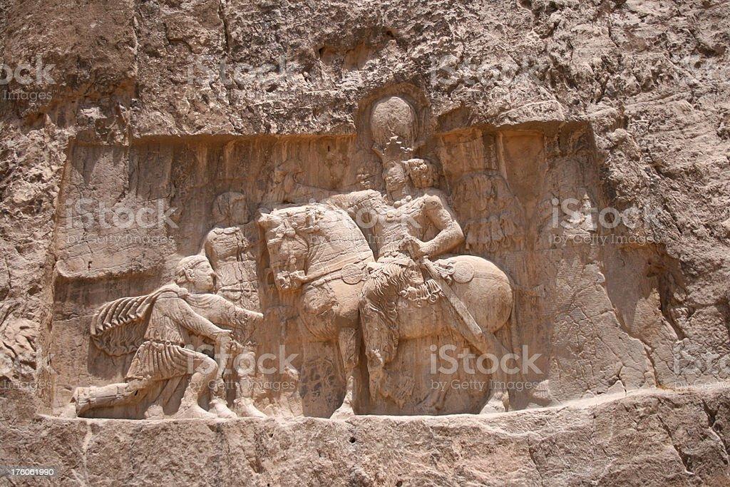 Persian Horse and rider engraving Ancient Iran stock photo