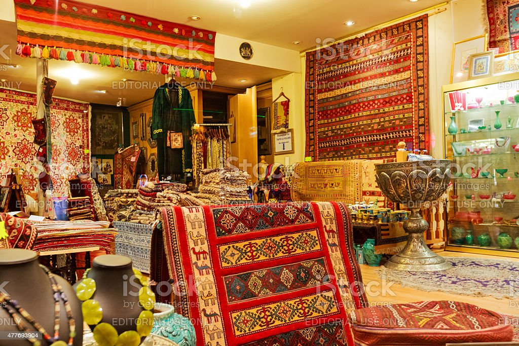 Persian Middle Eastern Rug Store Paris France stock photo