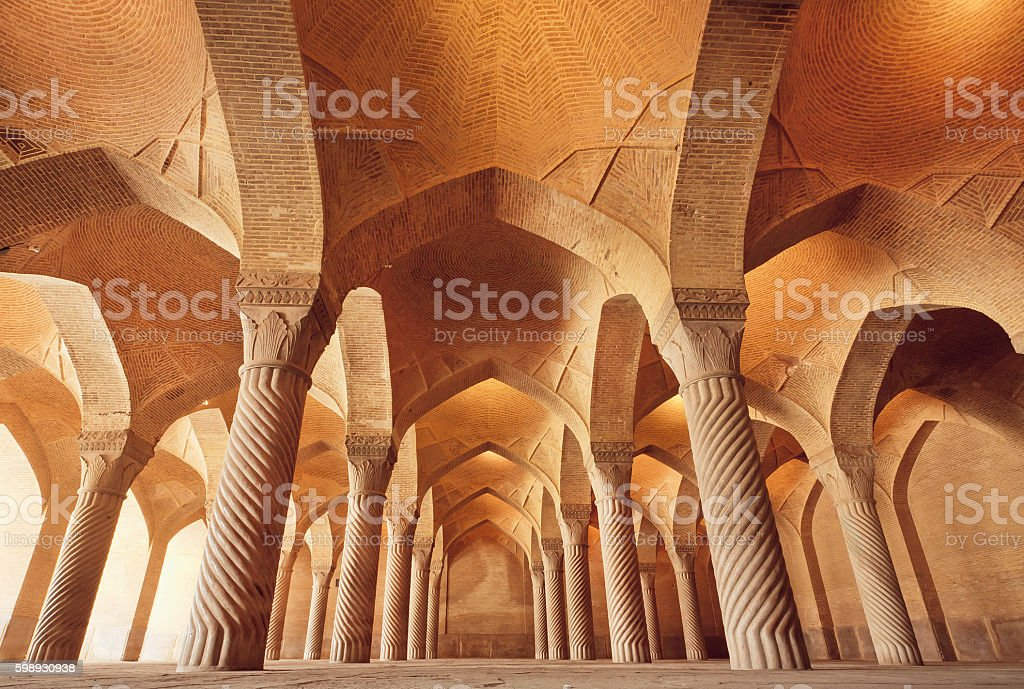Persian mosque Vakil with carved columns, Iran stock photo