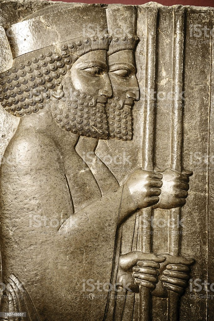 Persian Soldiers from Persepolis, Iran stock photo